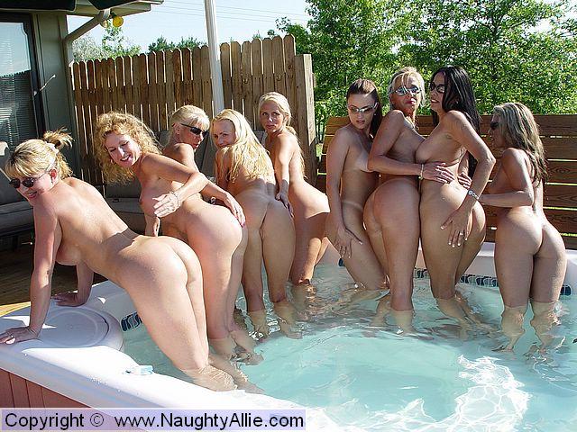 Naughty allie lesbian pool orgy
